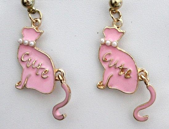 Cute Pink Cat Stud Earrings with Beaded Collar Cat Earrings