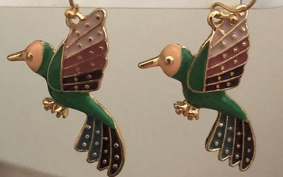 Enamel Bird Dangle Earrings