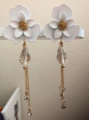 White Metal Floral Flower Drop Earrings