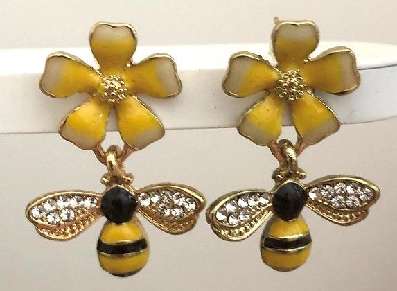 Bumble Bee Flower  Drop Earrings