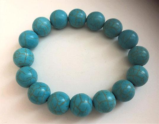 Large Beaded Turquoise Stretch Bracelet