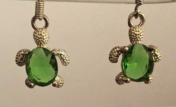 Green Glass Turtle Drop Earrings