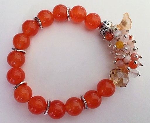 Orange Carnelian Beaded Bracelet
