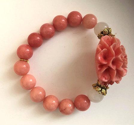 Pink Beaded Floral Stretch Bracelet
