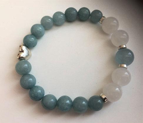 Blue Aquamarine Beaded Stretch Bracelet
