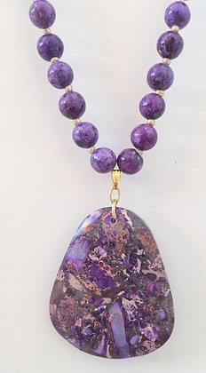 Purple Beaded Necklace with Sediment Pendant