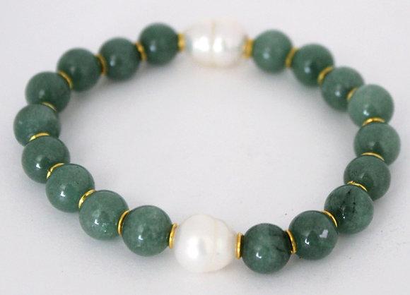 Green Jade Glass Beaded Bracelet