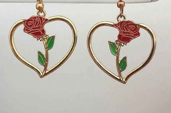 Rose Flower Floral Heart Drop Earrings