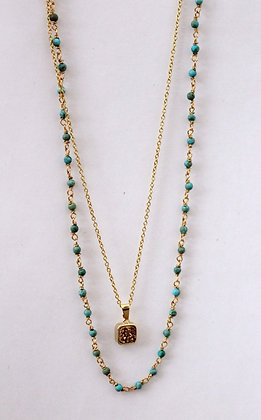 Turquoise Rosary Chain Necklace