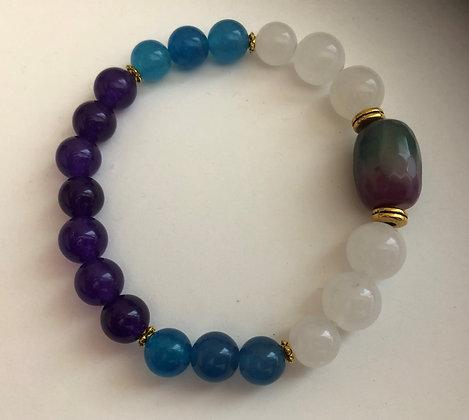 White Blue Purple Agate Stretch Bracelet
