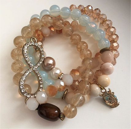 Multi Peach/Champagne Beaded Bracelet, Shades of Peach Strands
