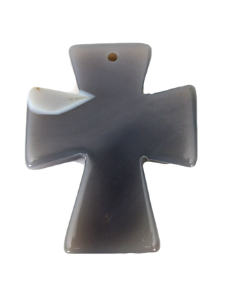 Gray Agate Slice Cross Pendant