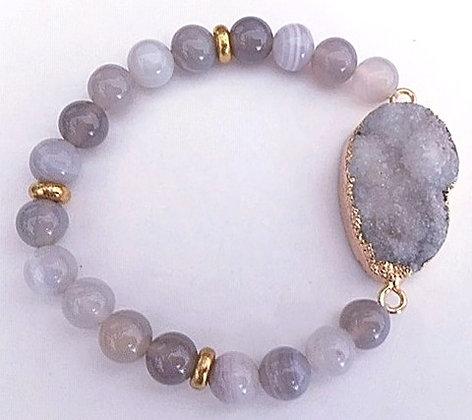 Gray Jasper Beaded Bracelet