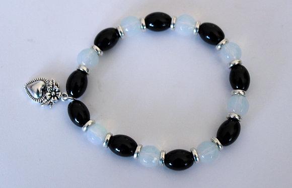 Oval Black and Round Opal Bracelet