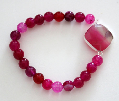 Magenta Beaded Stretch Bracelet with Connector