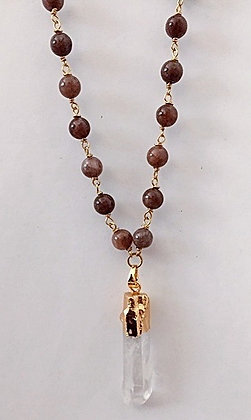 Brown Moonstone Rosary Necklace