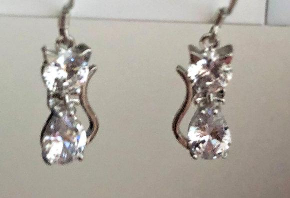 Clear Glass Cat Kitty Drop Earrings