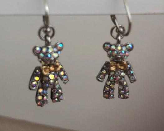 Rhinestone Teddy Bear Drop Earrings