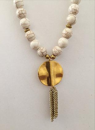 Large White Turquoise Beaded Necklace
