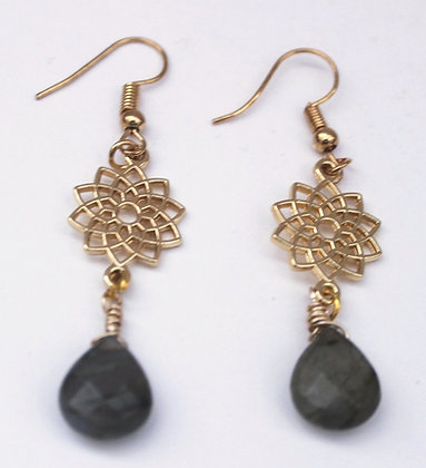 Brass Floral and Labradorite Bead Earrings