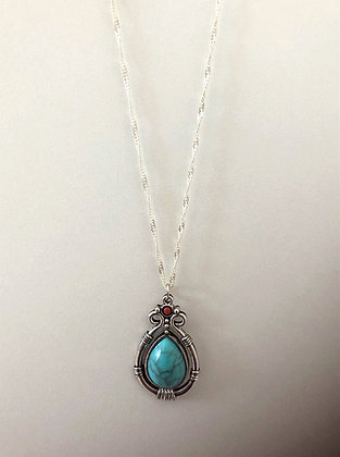 Turquoise Pendant Chain Necklace