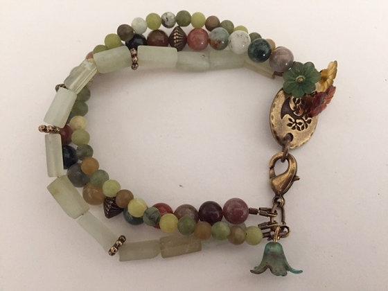 Green Toned Agate Beaded Bracelet