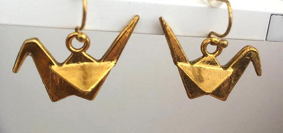 Origami Bird Crane Drop Earrings