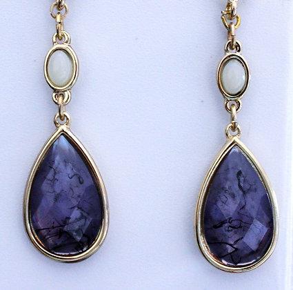 Purple Glass Oval Drop Earrings