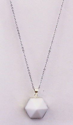 Chain Necklace with White Gemstone Pendant