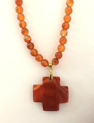 Shades of Orange Carnelian Cross Pendant Beaded Necklace