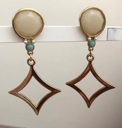 Round Diamond Shape Statement Dangle Earrings