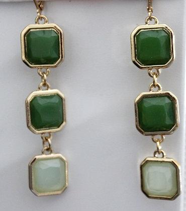 Green Glass Three Drop Earrings