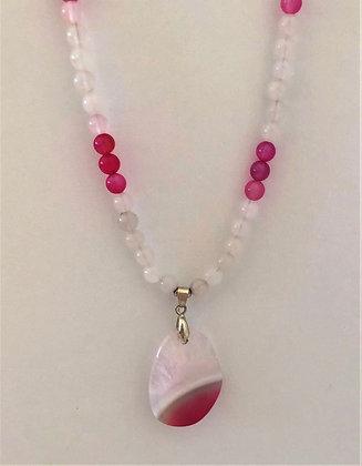 Pretty Pink and Magenta Quartz Teardrop Beaded Necklace