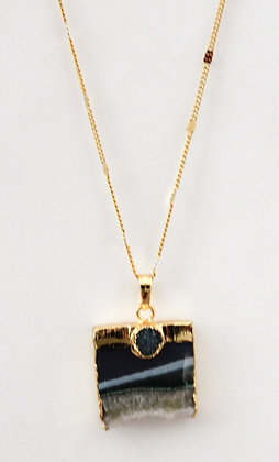 Chain Necklace with Tile Druzy Pendant