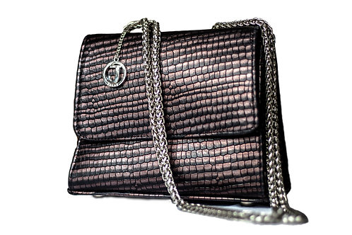 Jakar Mini Handbag In Iridescent Navy / Burgundy Snake Effect