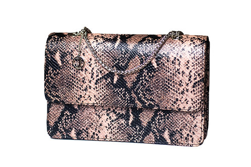 Jakar Mini Handbag In Pale Pastel Pink Black Snake Effect