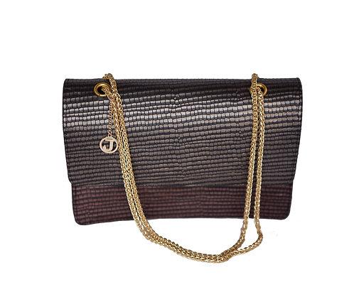 Jakar Midi Handbag In Burgundy Iridescent Snake Effect