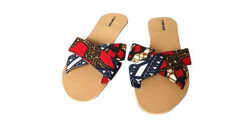Kene Rapu African Print Ankara Crossover Slippers Sandals Red Navy Blue