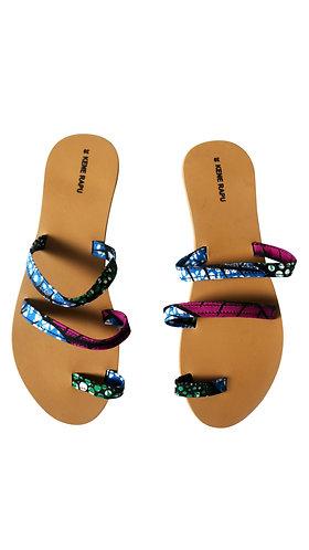 Kene Rapu African Print Ankara Triple Strap Slippers Sandals Blue Purple
