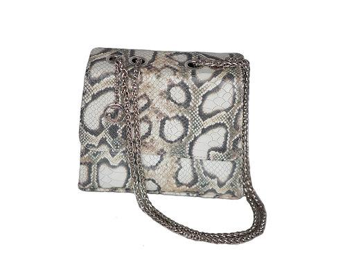 Jakar Mini Handbag In Silver Cream Pale Snake Effect
