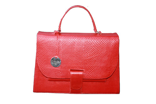 O'Eclat Michelle Midi Handbag In Red Snake Effect