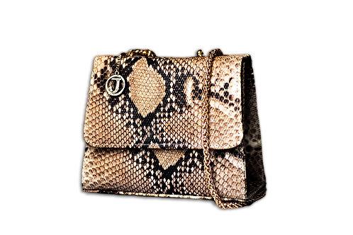 Jakar Mini Handbag In Golden Nude Pale Snake Effect