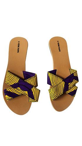 Kene Rapu African Print Ankara Crossover Slippers Sandals Yellow Purple