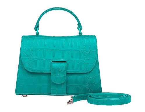O'Eclat Michelle Mini Handbag In Blue Croc Effect
