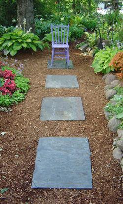 Artistic slate garden path