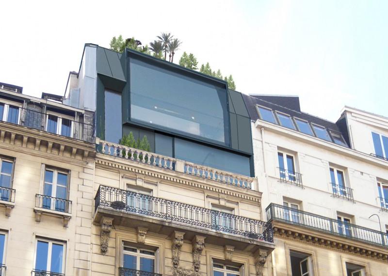 Surélévation contemporaines avec baies vitrées géantes