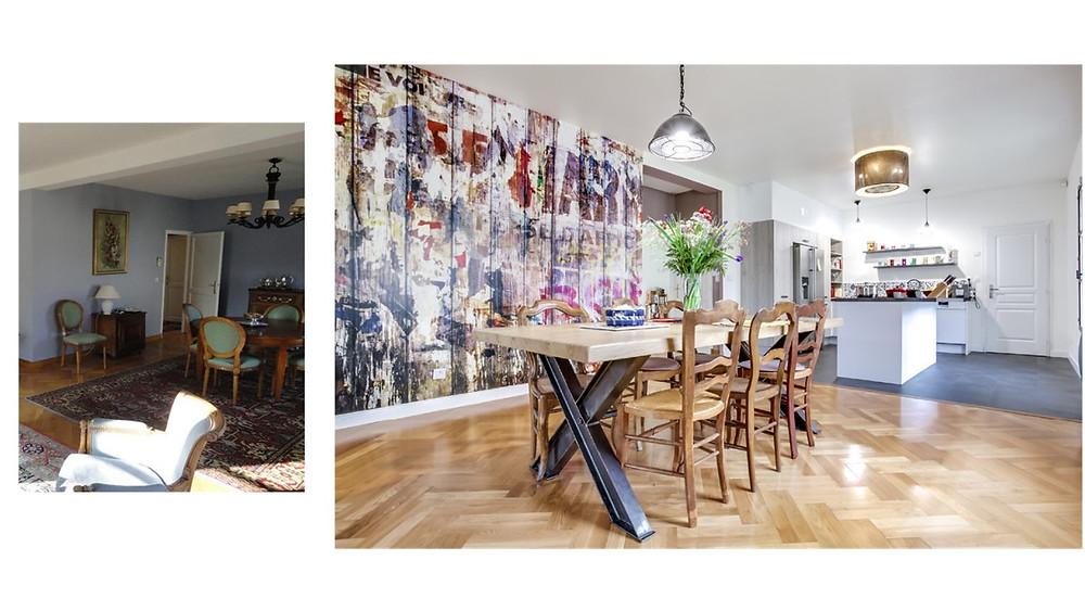 salle à manger street art cuisine ouverte Barry & Associés