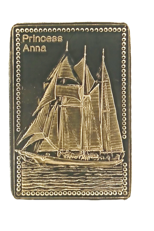 Tall Ships of the World Solid Silver Gold Proof Ingot - Princess Anna. .999 Pure