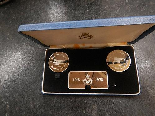 Windsor Mint Diamond Jubilee RAF Sterling Silver Set - 1978