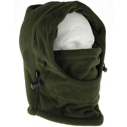 Snood - A Fleece Lined Snood with Adjustable Face Guard in Green